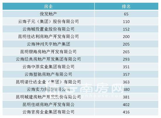 2015年500强房企云南入围名单